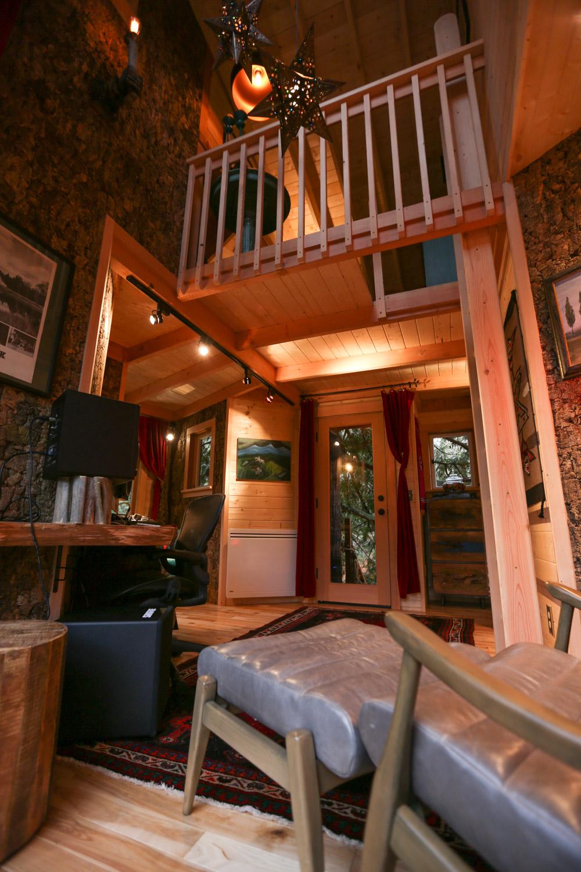 Nelson treehouse recording studio ladder to loft
